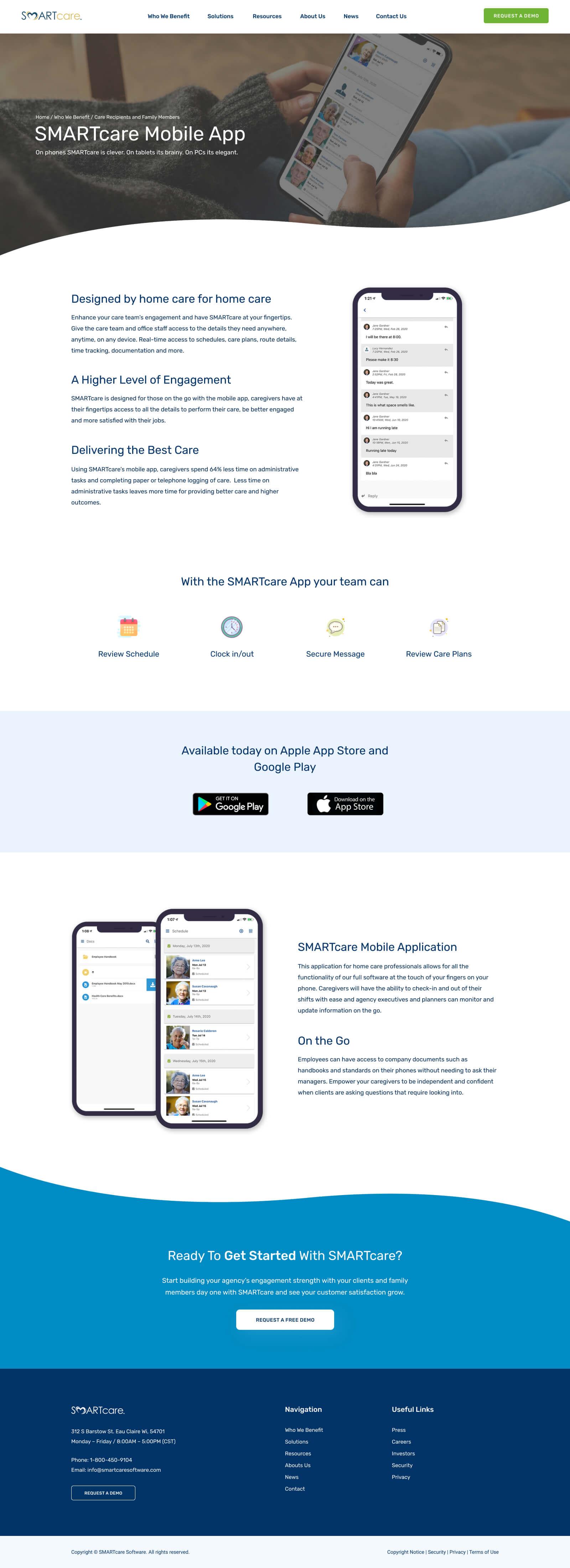 Custom WordPress Website Design & Development - Mobile App Page - SMARTcare Software