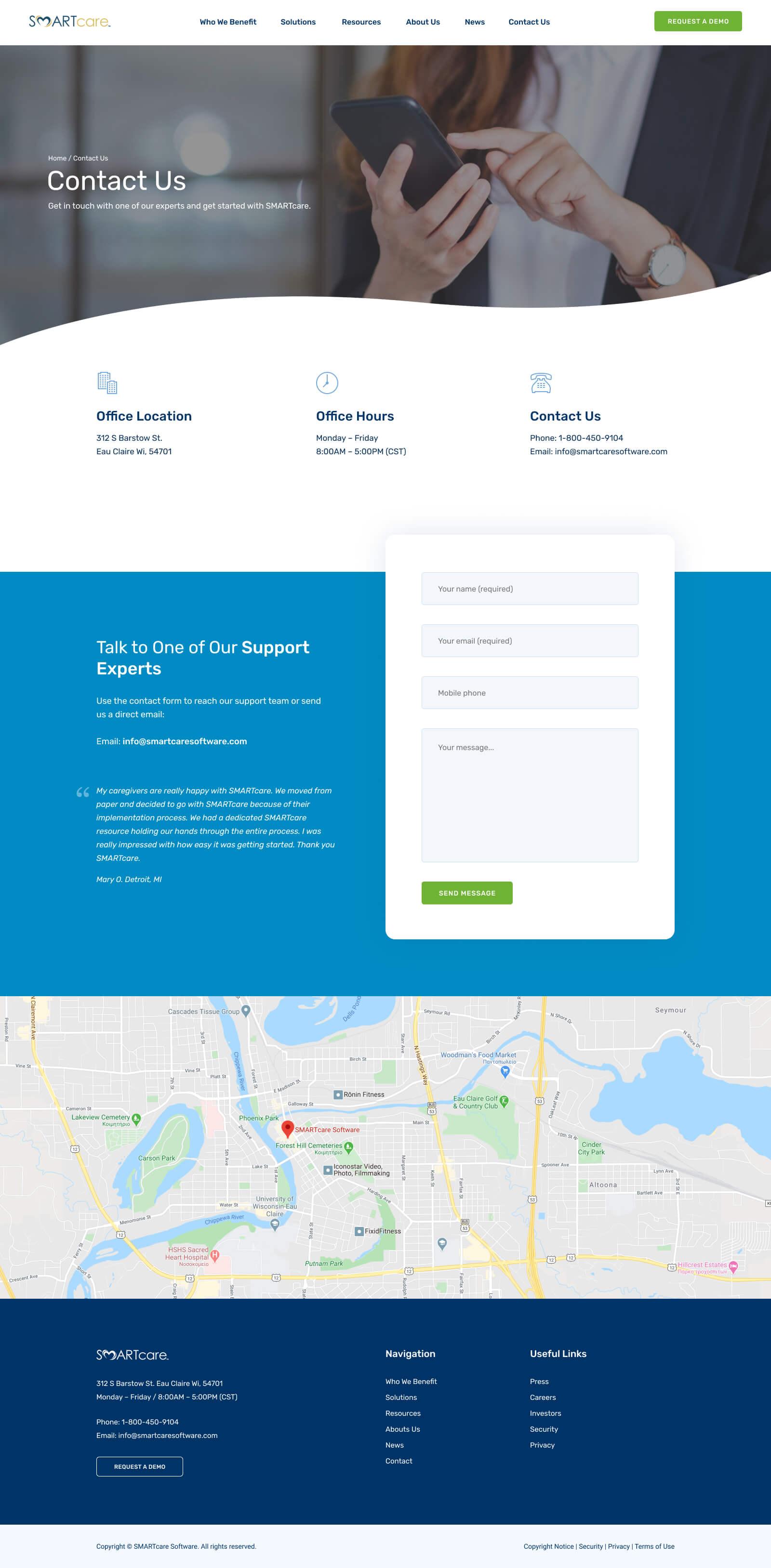Custom WordPress Website Design & Development - Contact Page - SMARTcare Software