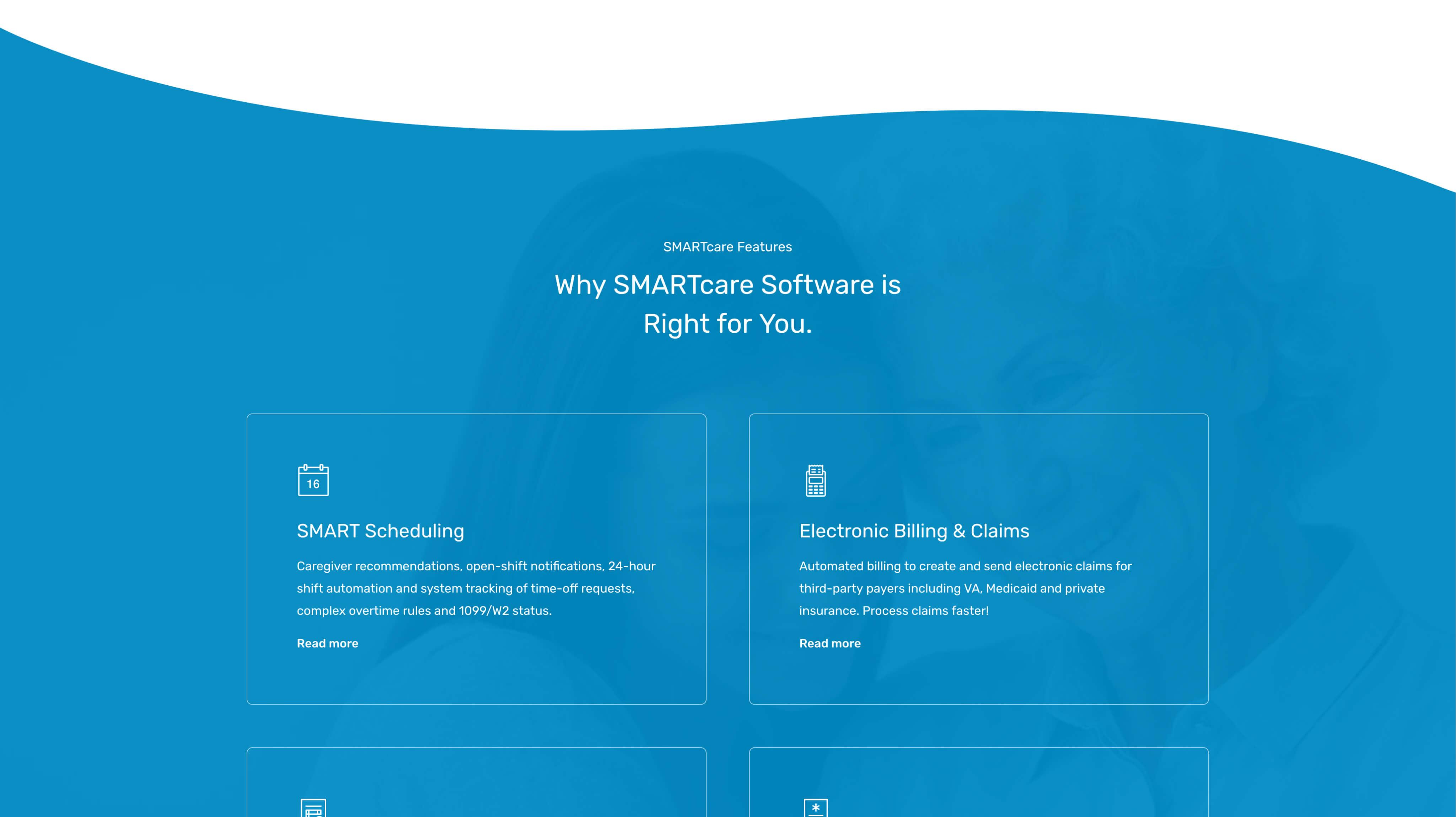 Custom WordPress Website Design & Development - Features Section - SMARTcare Software