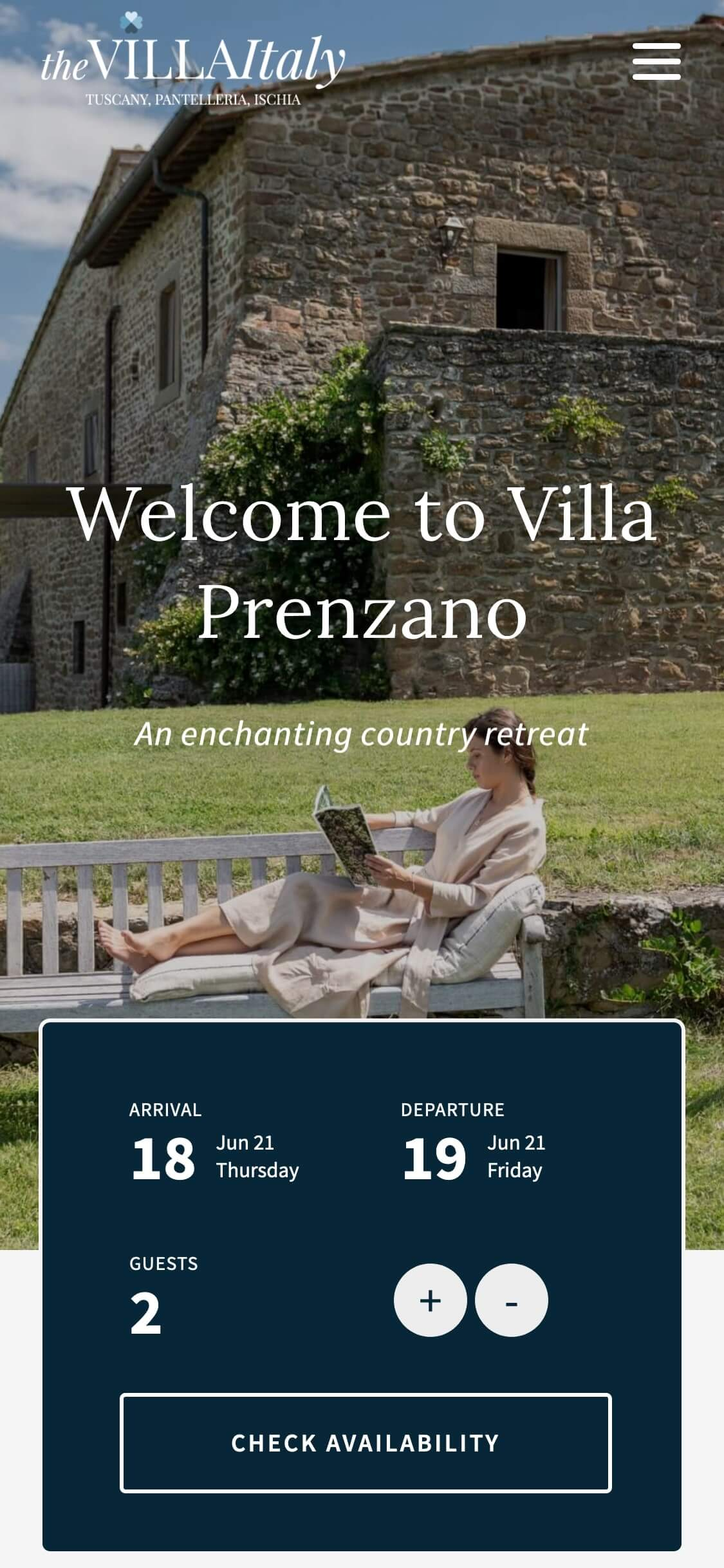 WordPress Website Design & Development - Mobile Mockup - The Villa Italy