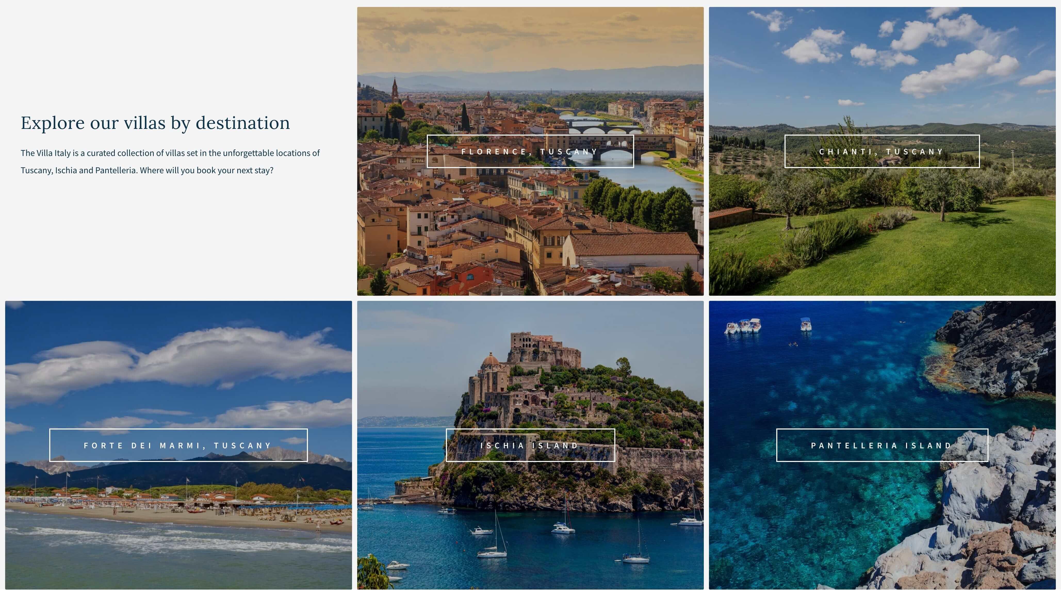 WordPress Website Design & Development - Destinations Section - The Villa Italy