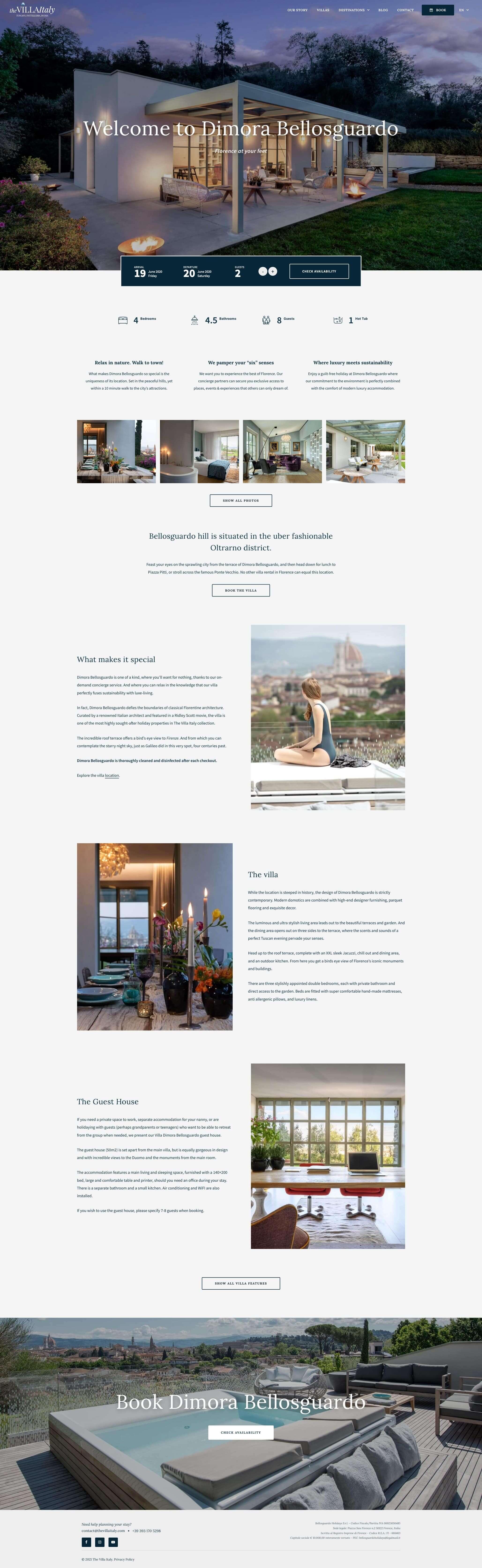 WordPress Website Design & Development - Single Villa Page - The Villa Italy