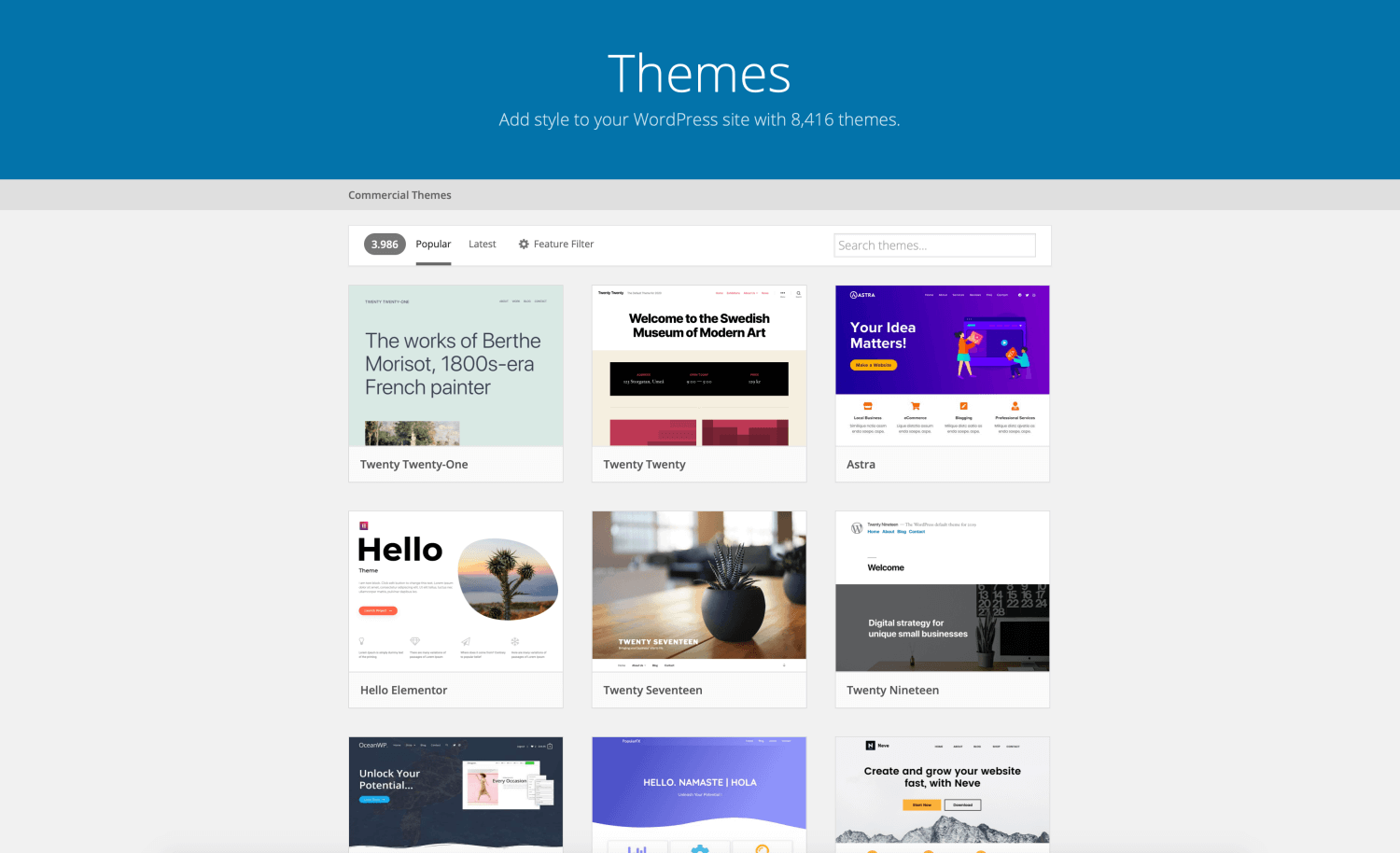 Official WordPress Theme Collection